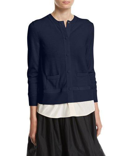 Moncler Tricot Cardigan In Navy