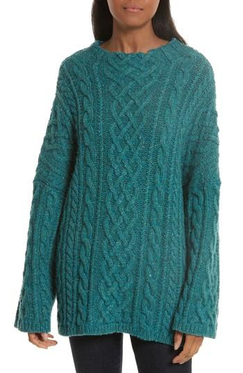 Milly Oversize Fisherman Cable-knit Sweater In Lagoon