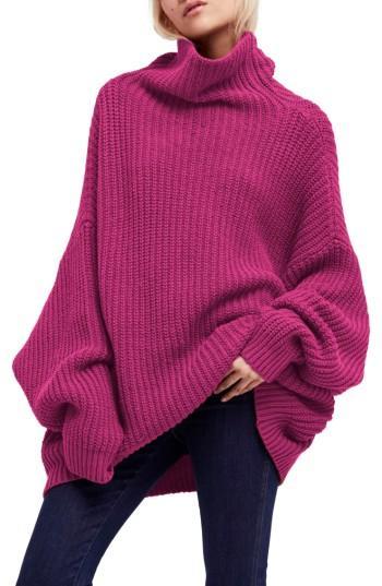 Free People Swim Too Deep Turtleneck Sweater In Pink
