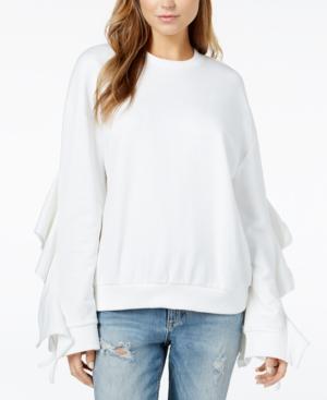 J.o.a. Ruffle Tie Sleeve Sweatshirt In White