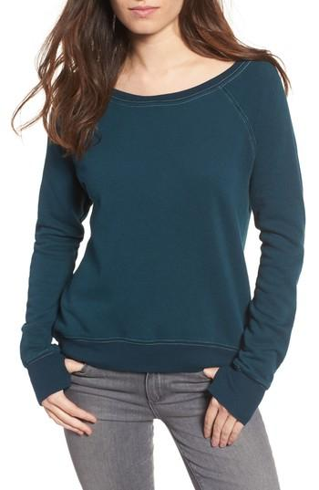 Pam & Gela Annie High/low Sweatshirt In Stellar Teal