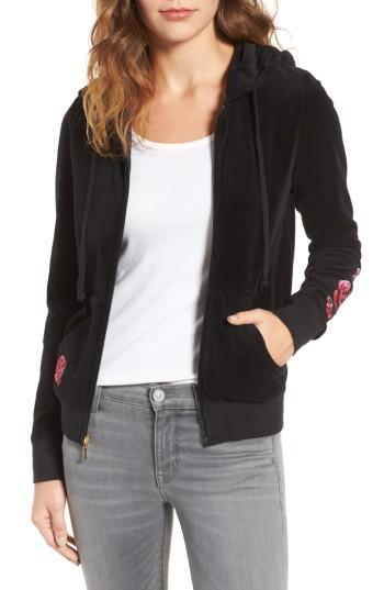 Juicy Couture Floral Enchantment Robertson Velour Hoodie In Pitch Black