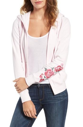 Juicy Couture Floral Enchantment Robertson Velour Hoodie In Peek-a-boo