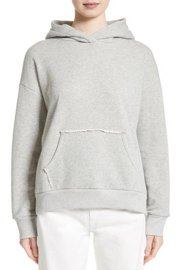 Simon Miller Boise Frayed French Cotton-terry Hooded Sweatshirt In Grey