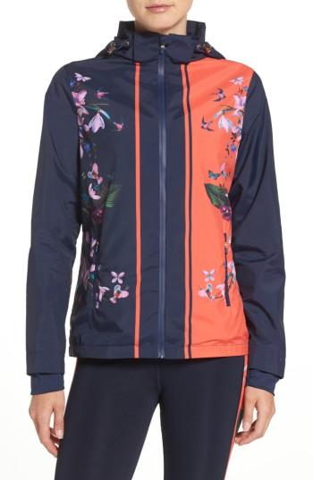 Ted Baker Tropical Oasis Hooded Jacket In Navy