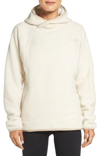 The North Face Hooded Fleece Pullover In Vintage White