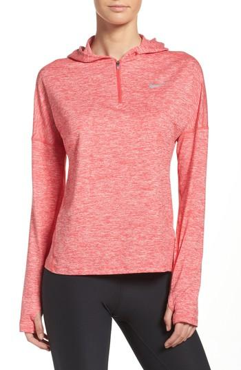 Nike Dry Element Running Hoodie In Light Fusion Red/ Heather