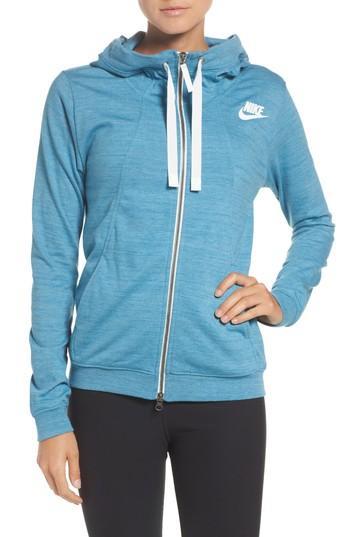 Nike Gym Zip Hoodie In Cerulean/ Heather/ Sail