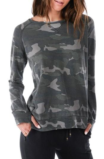 Ragdoll Distressed Camo Sweatshirt In Army Camo