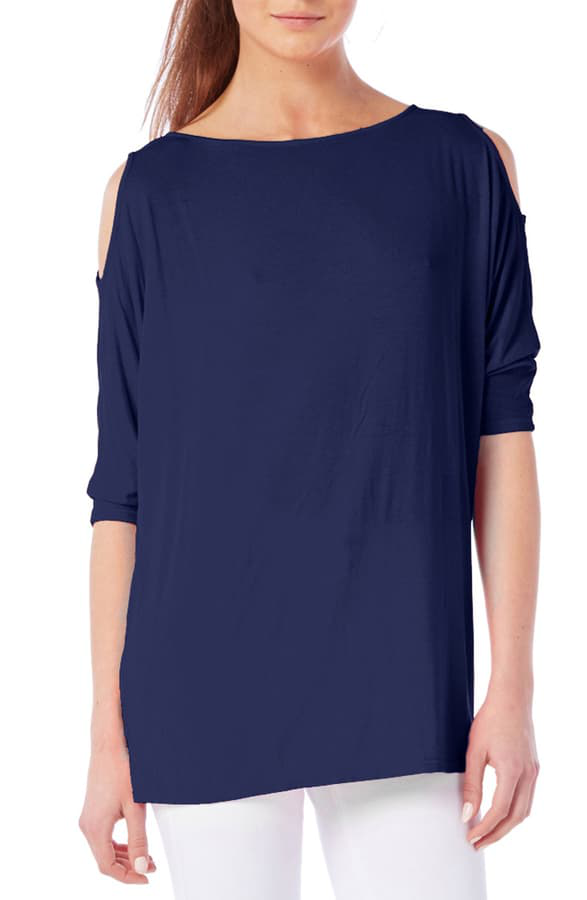 Michael Stars Cold Shoulder Tee In Nocturnal