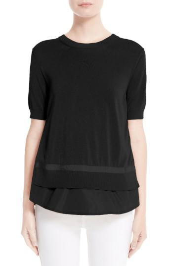 Moncler Tricot Knit Top In Black