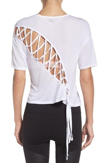 Alo Yoga Entwine Crop Tee In White
