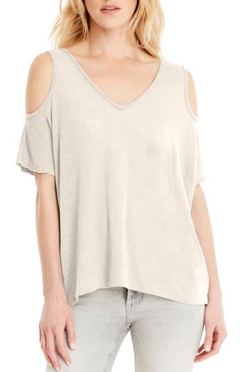Michael Stars Cold Shoulder Tee In Chalk