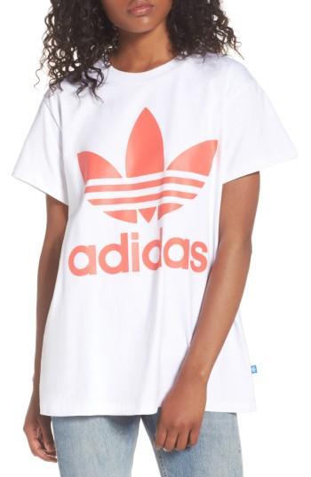 Adidas Originals Originals Trefoil Logo Tee In White/ Turbo