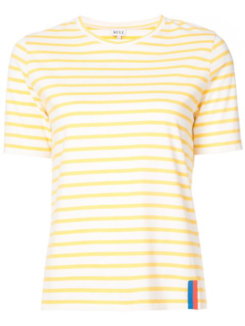 Kule The Modern Stripe Cotton Tee In Yellow