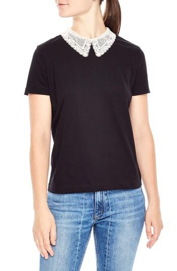 Sandro Henria Lace-collar Top In Black
