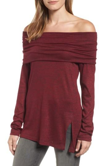 Michael Stars Off The Shoulder Knit Top In Burgundy