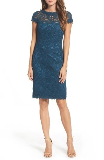 db51d92671b Tadashi Shoji Illusion Yoke Lace Sheath Dress In Starry Night