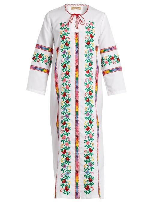 Muzungu Sisters Jasmine Vine Embroidered Cotton Dress In White Multi