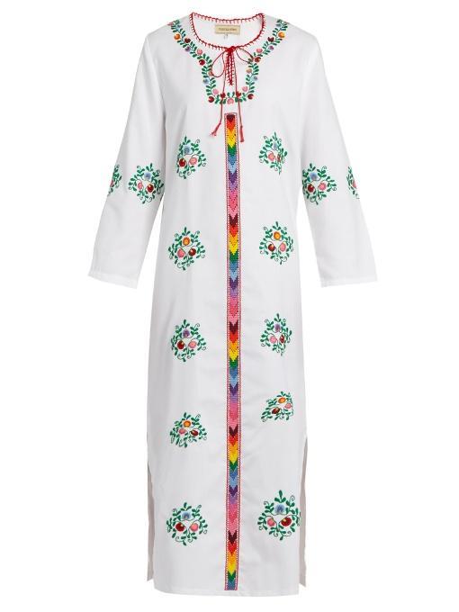Muzungu Sisters Jasmine Floral-embroidered Cotton Dress In White Multi