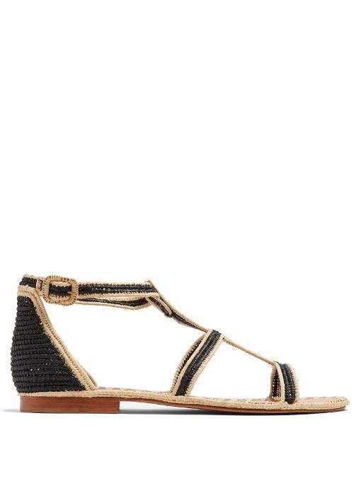 016a561b130620 Carrie Forbes Tama Raffia Sandals In Black Cream | ModeSens