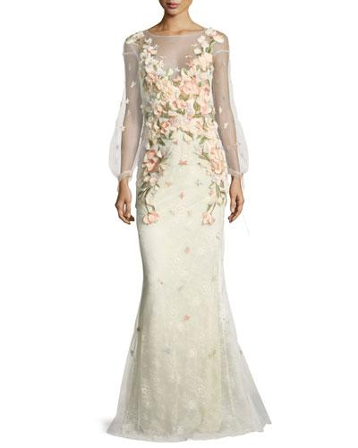 2cfa9728 Marchesa Notte Bishop-Sleeve Lace Evening Gown W/ Floral Appliques In Blush