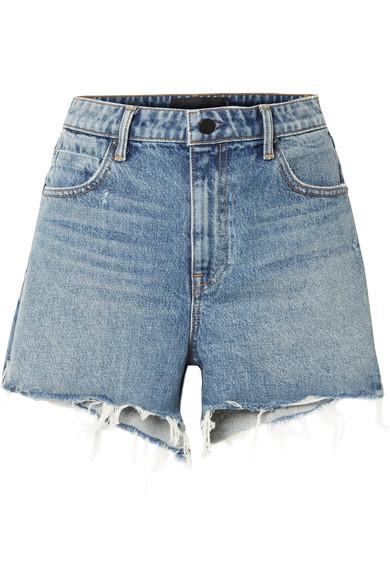 e4a9e187604c Alexander Wang Alexanderwang.T Bite High Rise Frayed Shorts In Light Indigo  Aged In Light