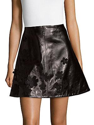 a0fbbaeedc Red Valentino Flared Leather Mini Skirt In Black | ModeSens