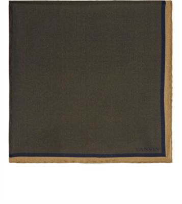 Lanvin Silk Pocket Square In Charcoal
