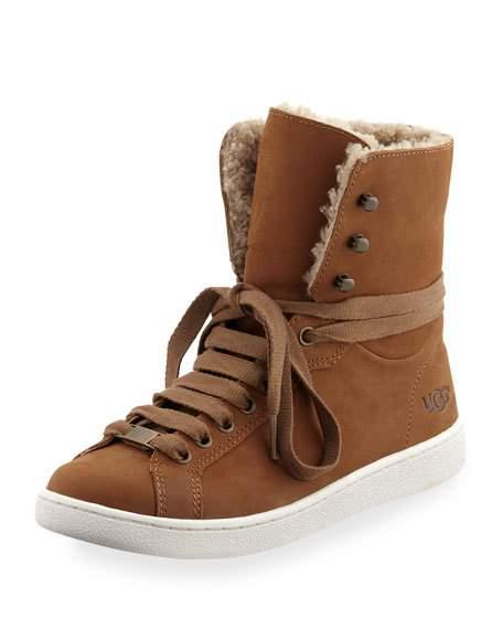 9bc2d6b9d8e Starlyn Shearling High-Top Sneaker in Chestnut Leather