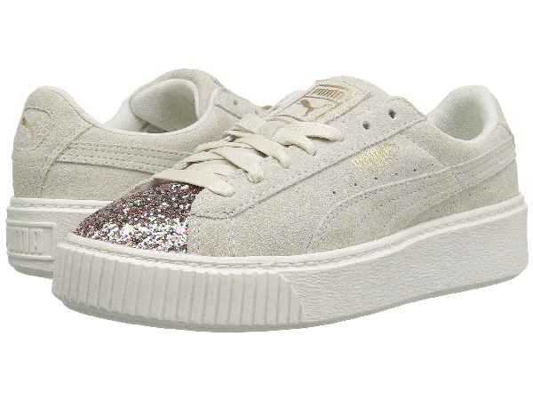 Puma Women's Suede Platform Crushed Jewel Casual Shoes, White In Marshmallow/ Team Gol