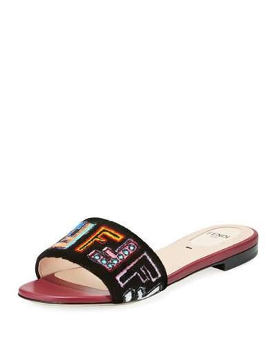 dff22028e Fendi Ff Velvet Embroidered Slide Sandal