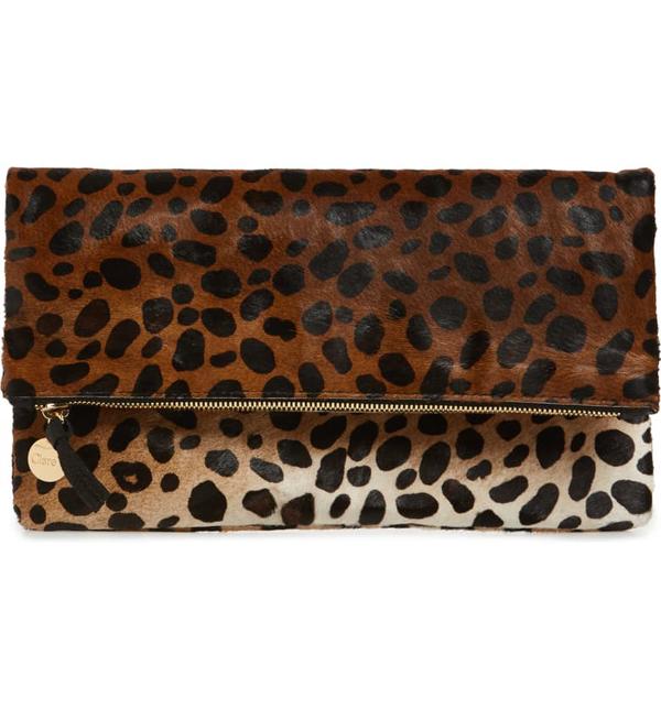 Clare V Genuine Calf Hair Leopard Print Foldover Clutch In Tan