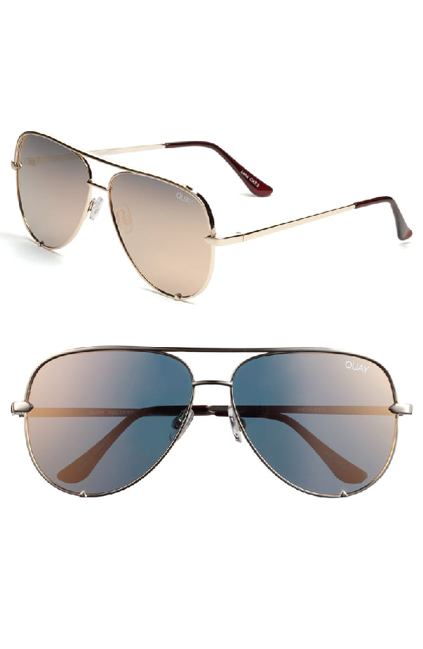 003bea8fd Quay X Desi Perkins High Key 62Mm Aviator Sunglasses - Gold/ Gold Mirror