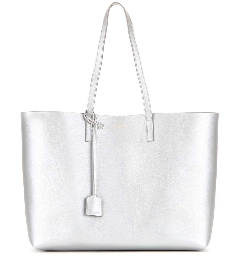 6a91a25e332 Saint Laurent Metallic Leather Shopper In Silver | ModeSens