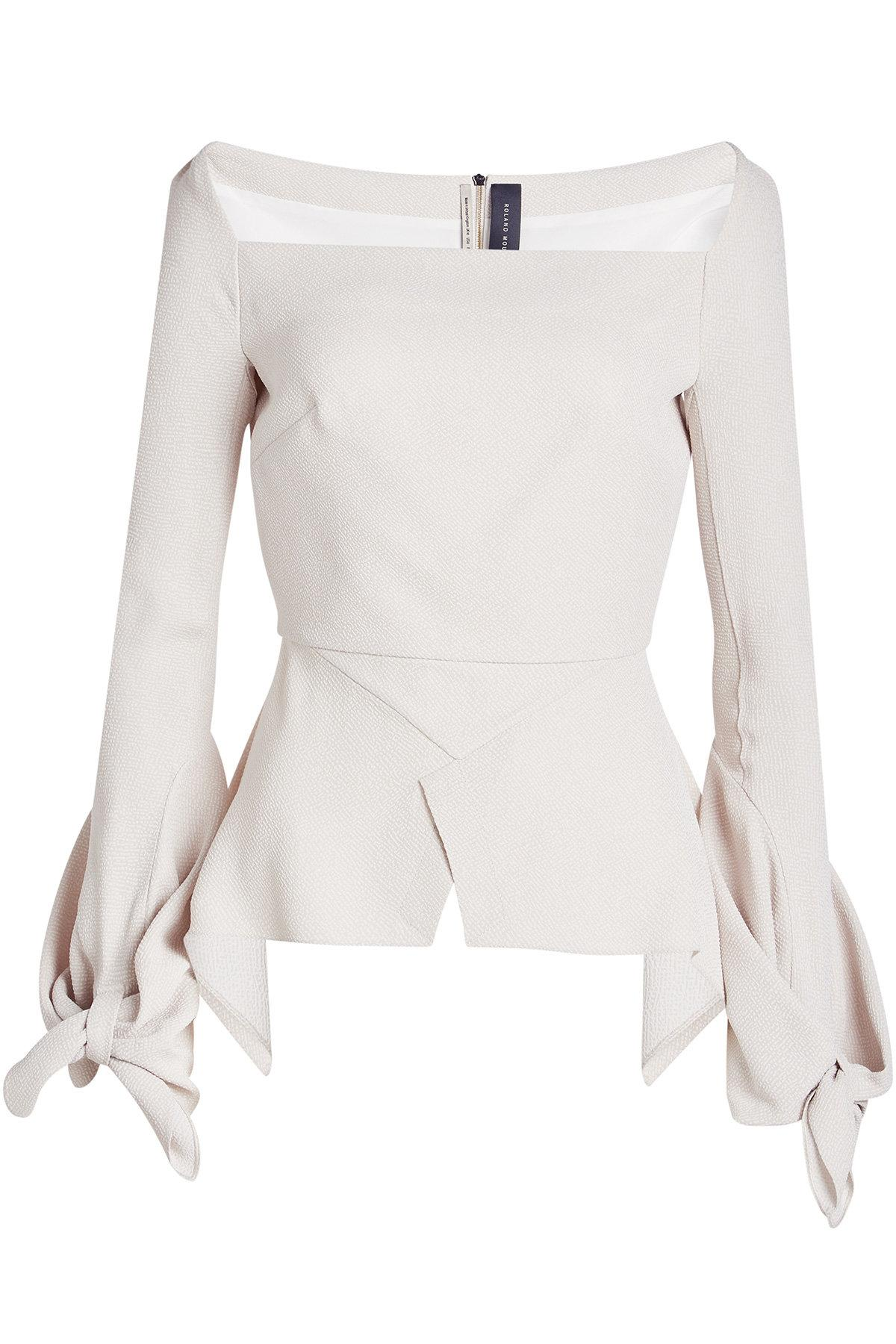 Roland Mouret Wicklow Textured Top In Beige