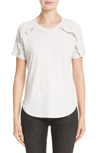 Burberry Tamega Ruffle Cotton Jersey Tee In Winter White