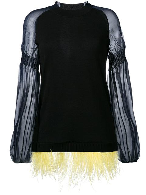 N°21 Feather Hem Knitted Top In Black