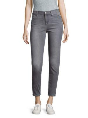 7 For All Mankind Skinny Ankle Jeans In Grey