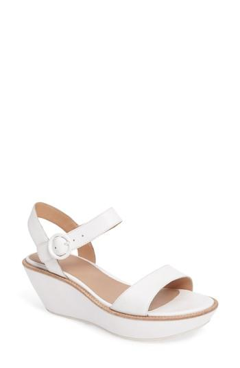 61353e6b01e Camper  Damas  Wedge Sandal In White Leather