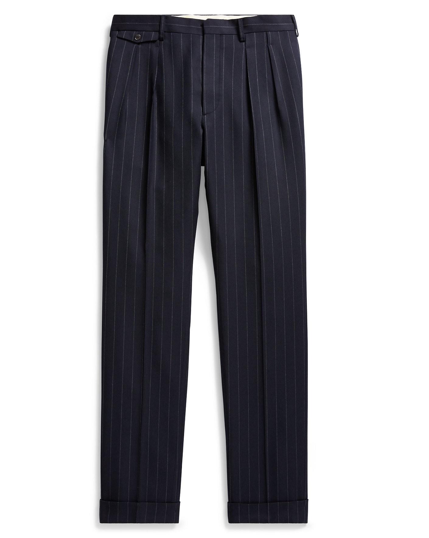 Ralph Lauren Rrl Slim Chalk-stripe Wool Trouser In Navy Blue