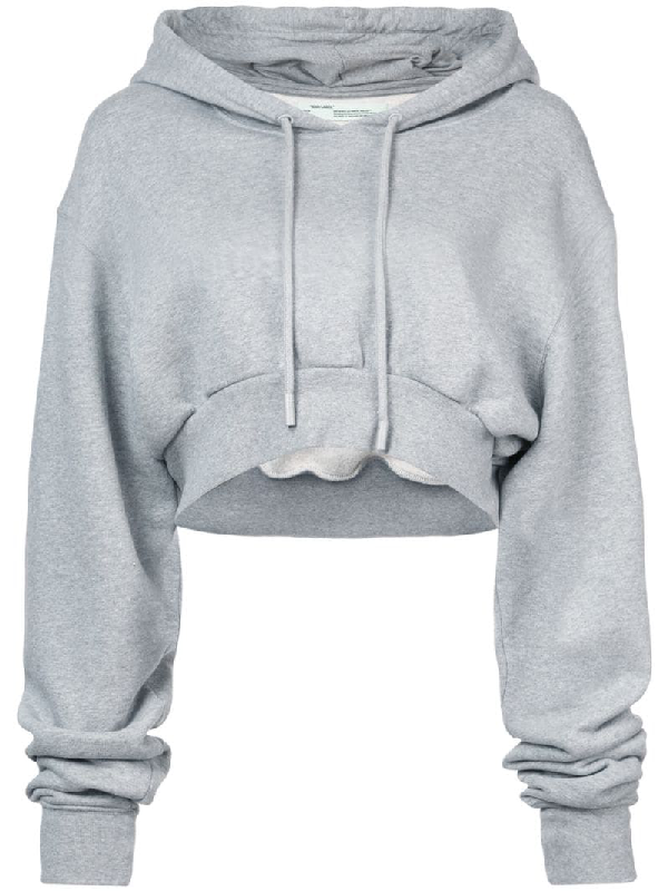 Off-white Cropped MÉlange Cotton-jersey Hooded Top In Gray
