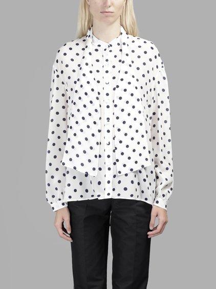 5cbca114f06e90 Balenciaga Polka Dot Tie-Neck Blouse In Black And White
