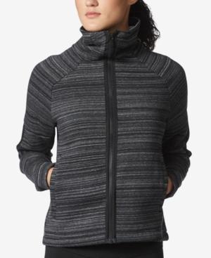 Adidas Originals Adidas Printed High-collar Fleece Jacket In Black