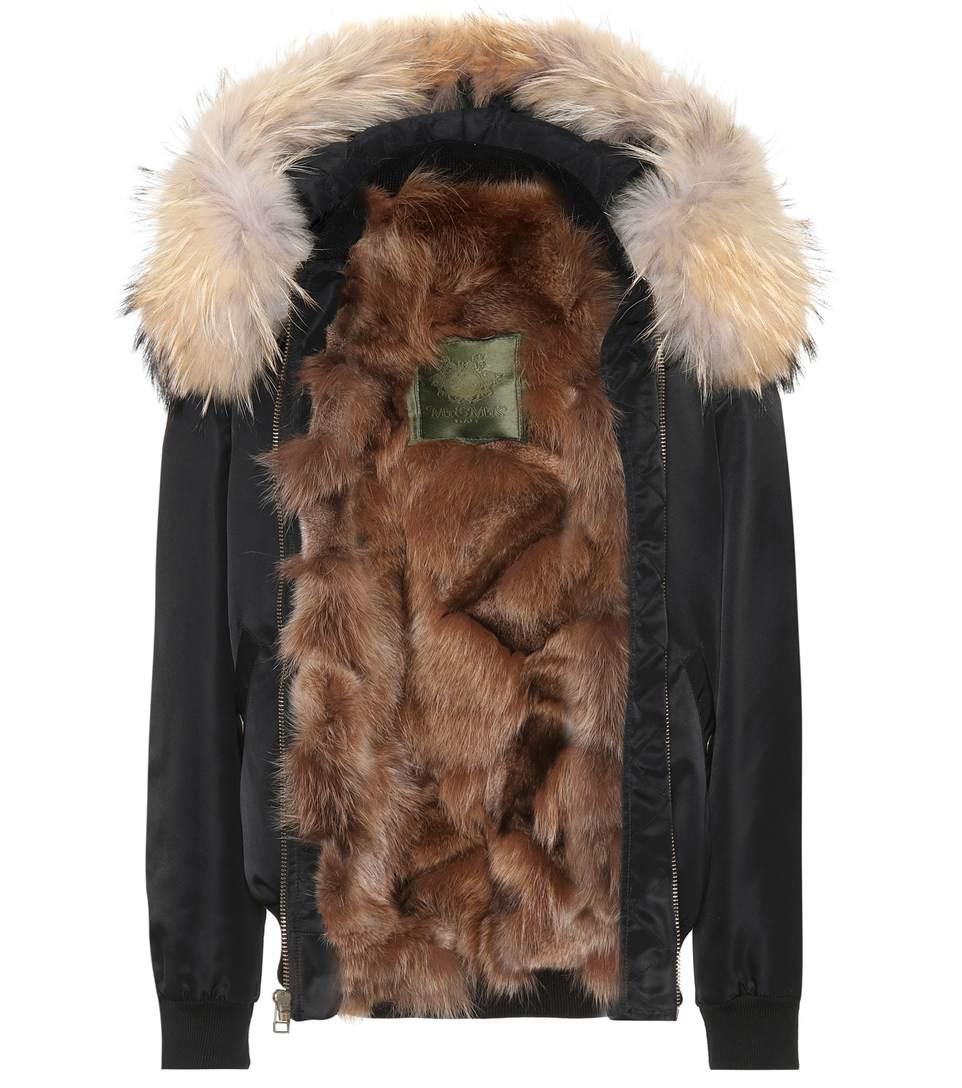 Mr & Mrs Italy Fur-trimmed Bomber Jacket In Black