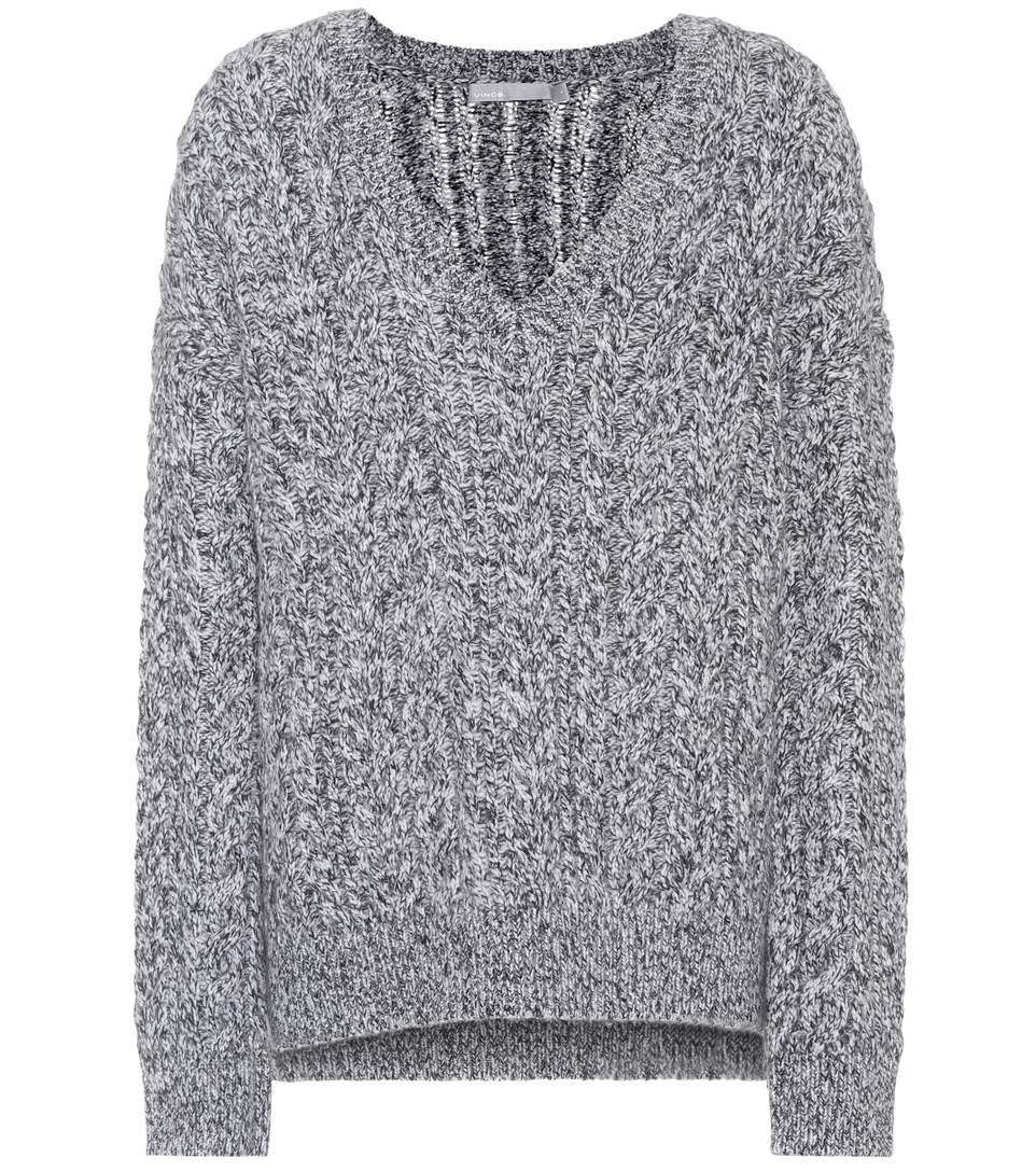 Vince Marled Wool-blend Sweater In Lt Grey Llack