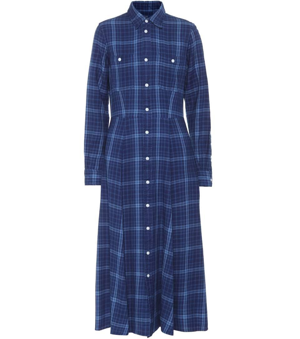 Polo Ralph Lauren Plaid Cotton Shirt Dress In Iedigo Llu