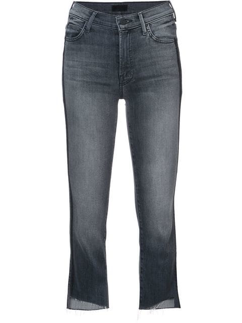 Mother Insider Crop Step Fray Jeans With Side Stripes In Blue