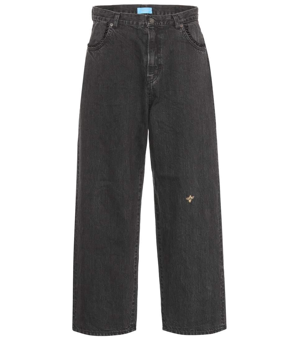 Undercover Bee Embroidered Slouchy Jeans In Black