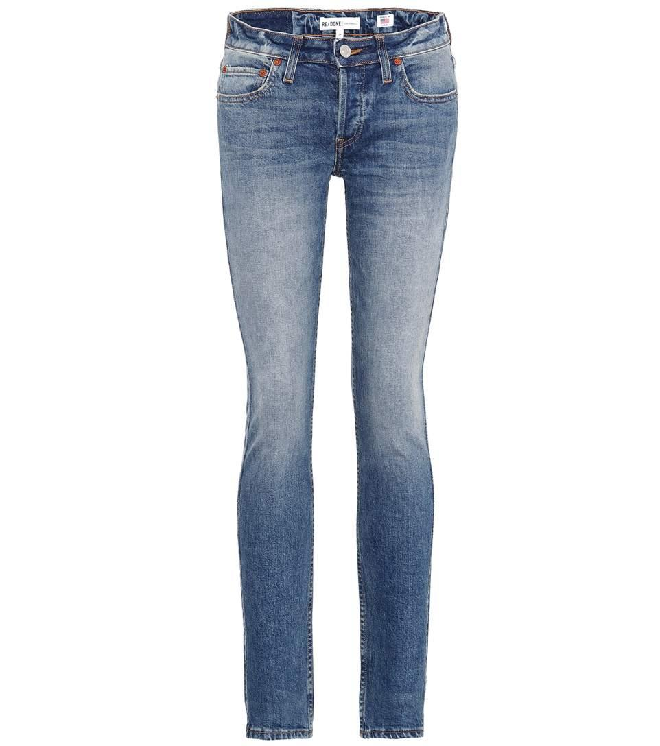 Re/done Stack Low-rise Skinny Jeans In Blue